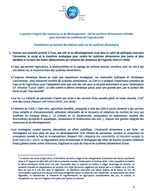 La gestion intégrée des ressources et du développement : clef de systèmes alimentaires refondés pour atteindre les ambitions de l'Agenda 2030  Contribution au Sommet des Nations unies sur les systèmes alimentaires